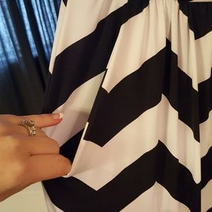 liola Dresses - Black and white chevron strapless maxi dress